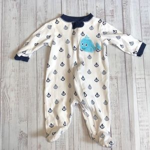 Whale & Anchor Footed One Piece Baby Suit 0-3M
